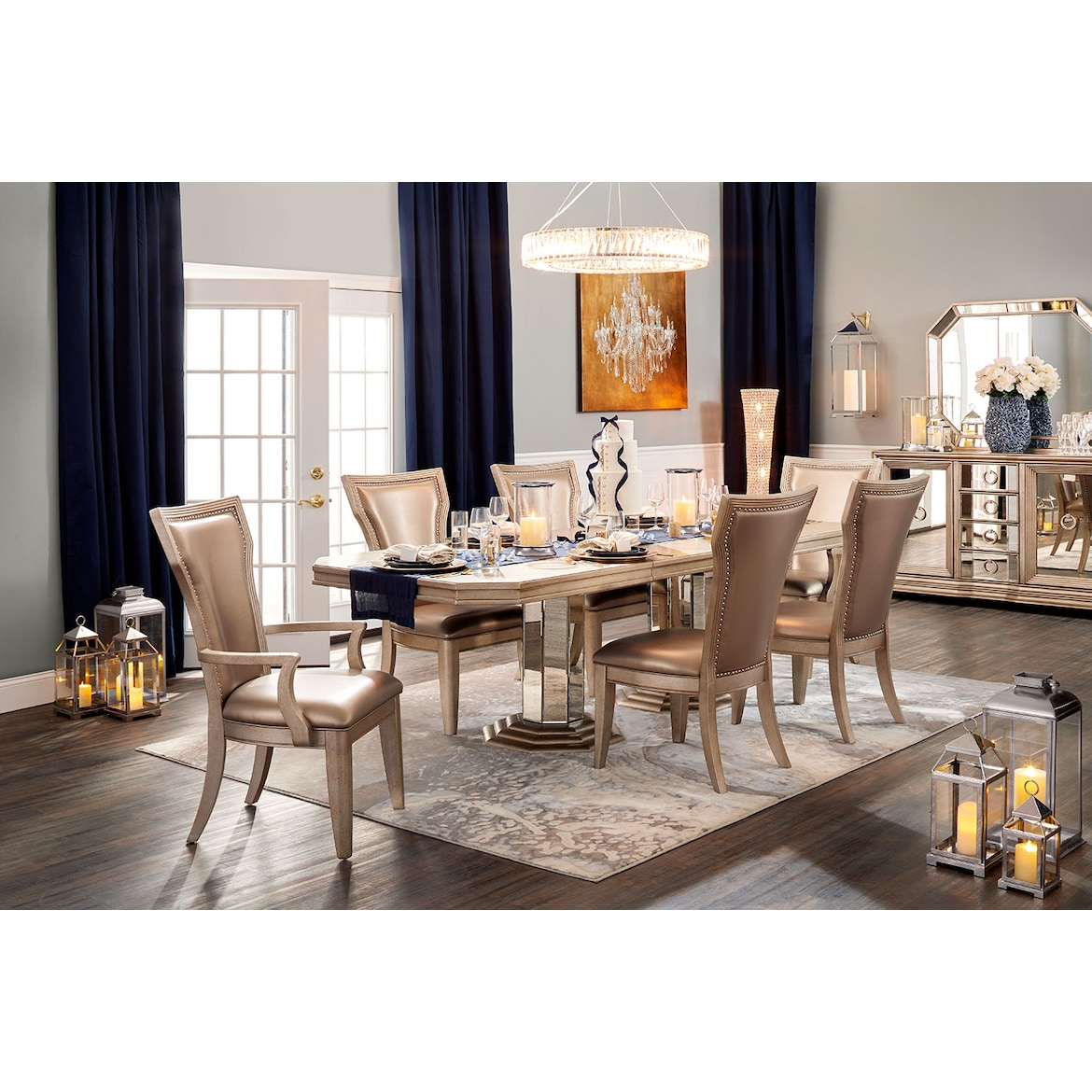 1e7db8c804de Angelina Double-Pedestal Table, Two Arm Chairs and 4 Side Chairs ...