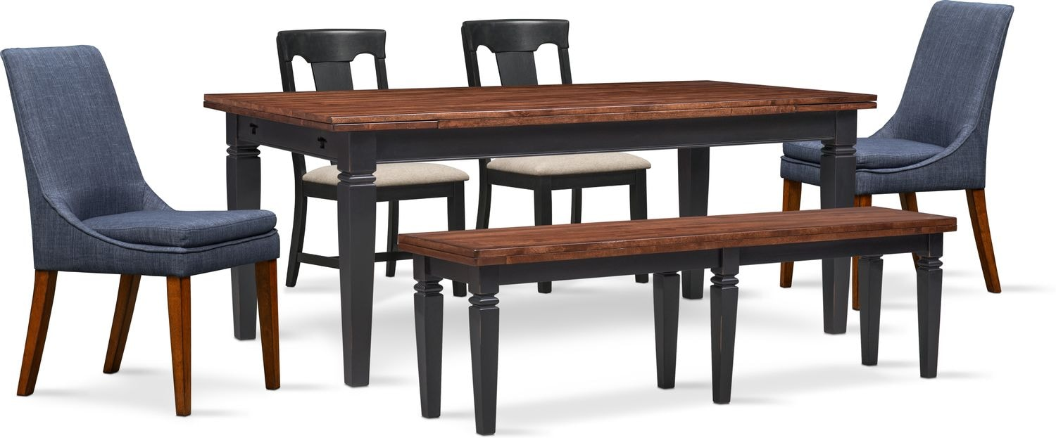 Dining Room Furniture   Adler Dining Table, 2 Side Chairs, 2 Upholstered  Side Chairs