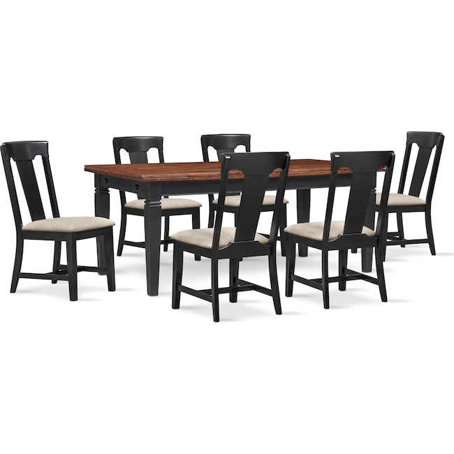 Adler Dining Table and 6 Side Chairs Set - Black | Value City ...