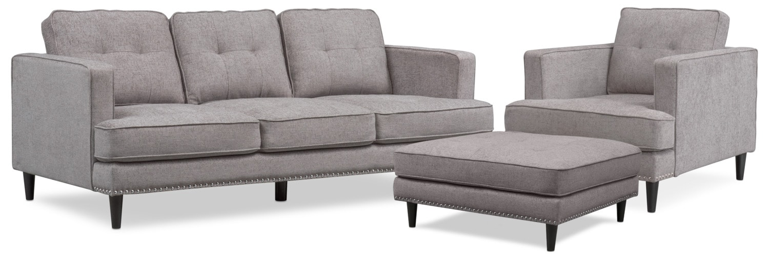 Living Room Furniture - Parker Sofa with Ottoman and Chair