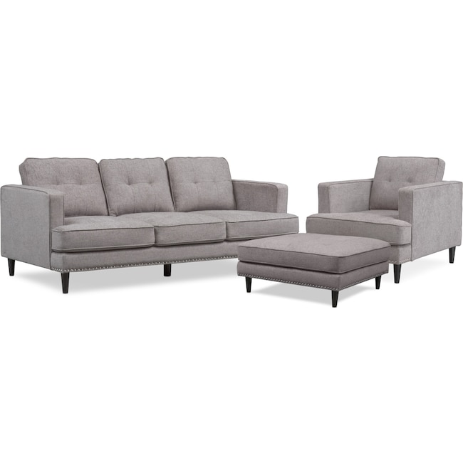 Living Room Furniture - Parker Sofa, Chair and Ottoman Set