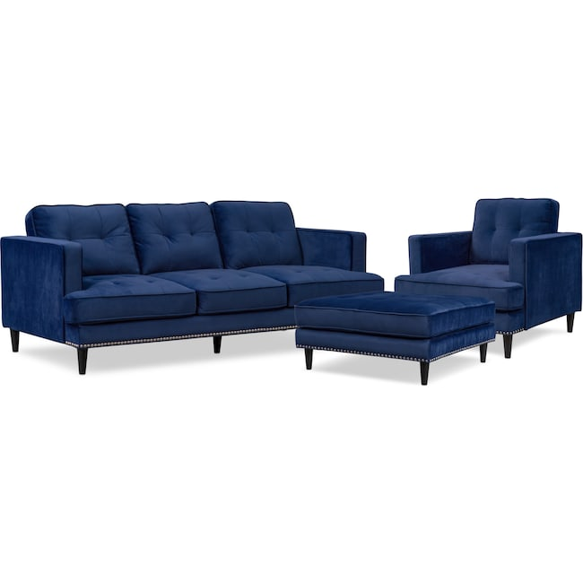 Living Room Furniture - Parker Sofa, Chair and Ottoman Set - Indigo