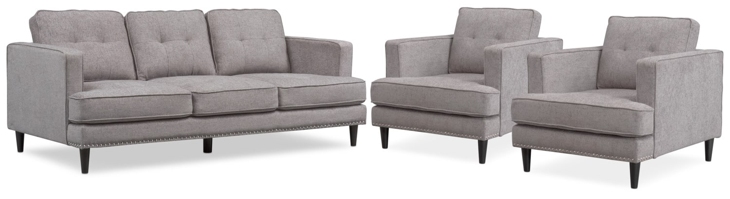 Living Room Furniture Parker Sofa And 2 Chairs Set