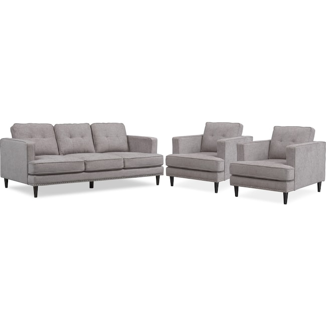 Living Room Furniture - Parker Sofa and 2 Chairs Set