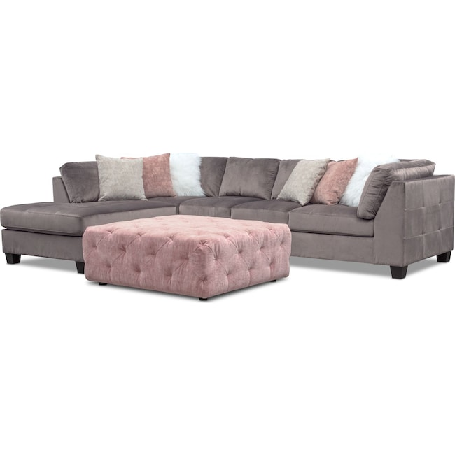 Mackenzie 2 Piece Sectional And Ottoman Set Value City Furniture