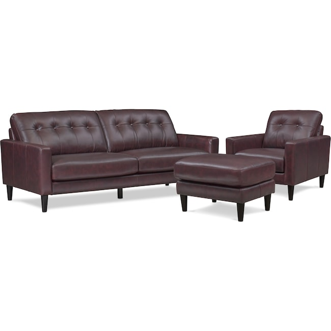 Living Room Furniture - Grant Sofa, Chair and Ottoman Set - Brown