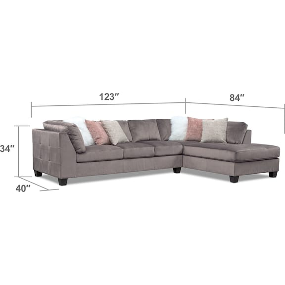 Living Room Furniture - Mackenzie 2-Piece Sectional + FREE OTTOMAN