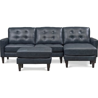 Lincoln 2-Piece Sectional and Ottoman Set - Blue