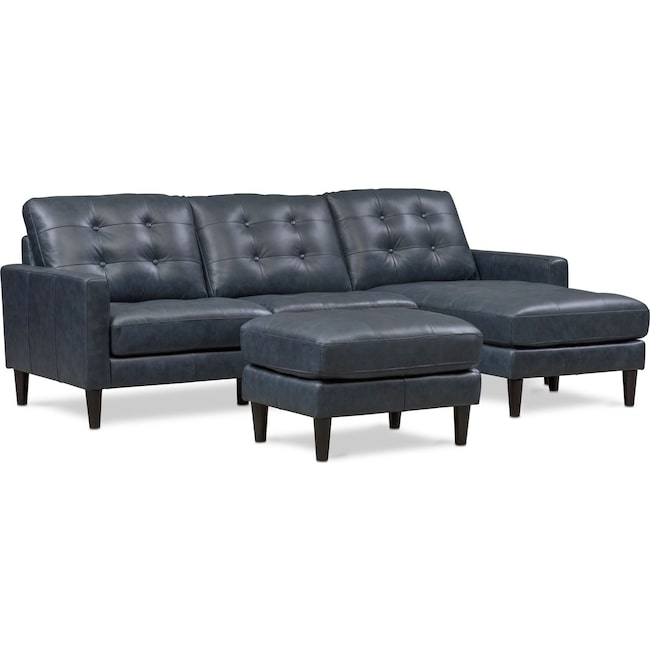 Living Room Furniture - Lincoln 2-Piece Sectional and Ottoman Set - Blue
