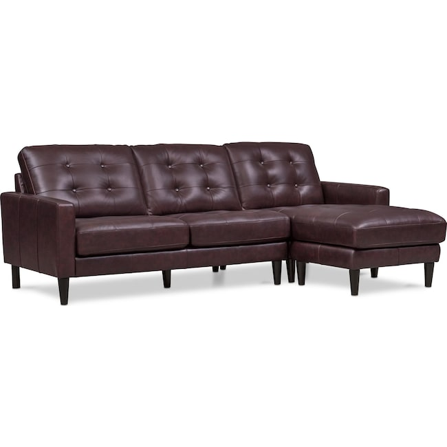 Living Room Furniture - Lincoln 2-Piece Sectional with Right-Facing Chaise - Brown