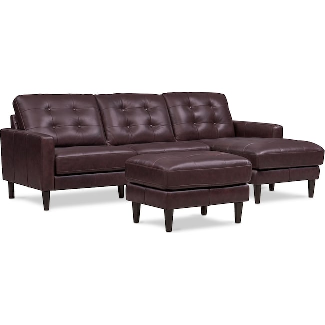 Living Room Furniture - Lincoln 2-Piece Sectional and Ottoman Set - Brown