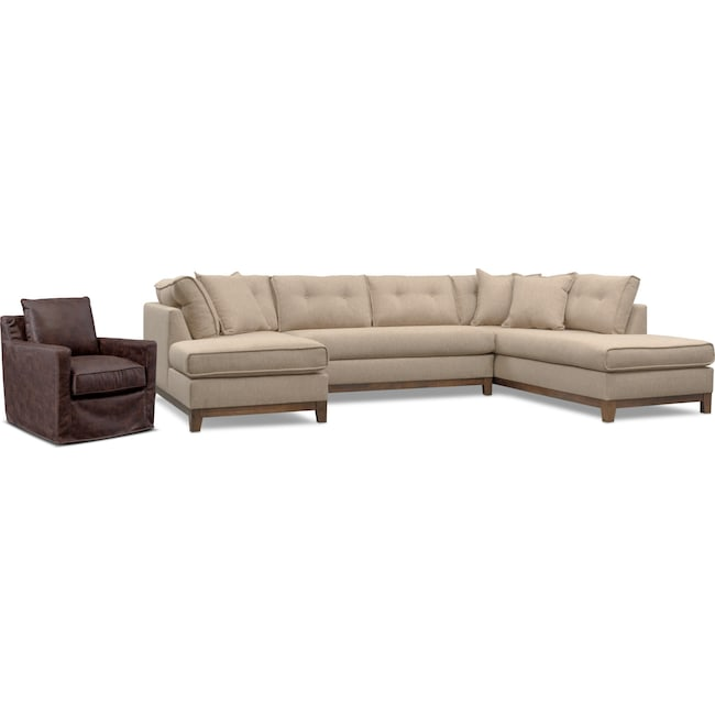 Living Room Furniture - Eastwood 3-Piece Right-Facing Sectional and Swivel Chair Set - Beige