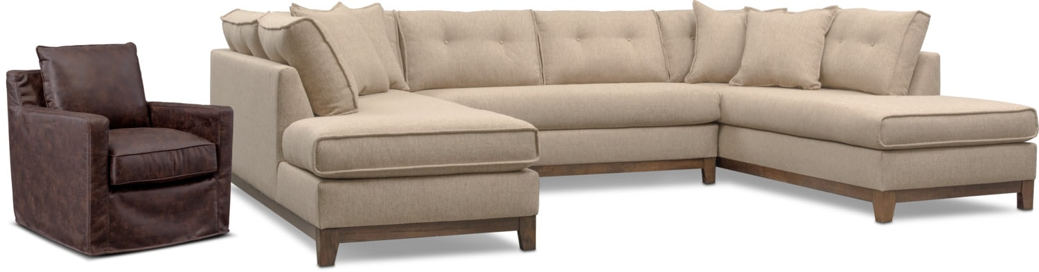 Living Room Furniture - Eastwood 3-Piece Large Sectional and Swivel Chair Set - Beige