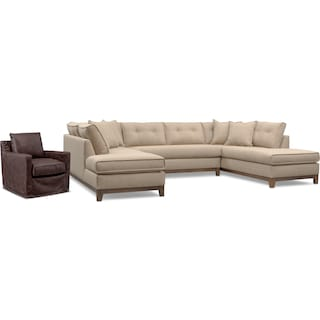 Eastwood 3-Piece Large Sectional and Swivel Chair Set - Beige