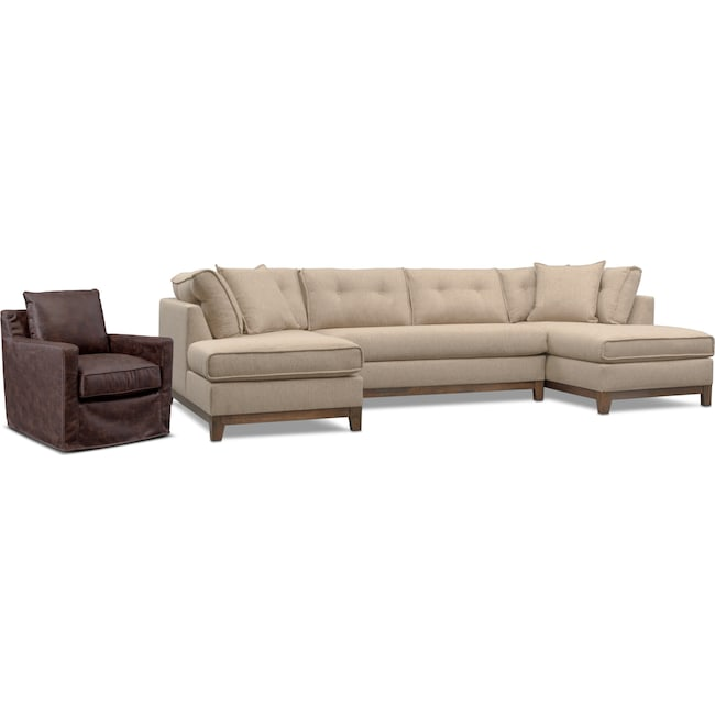 Living Room Furniture - Eastwood 3-Piece Small Sectional and Swivel Chair Set - Beige