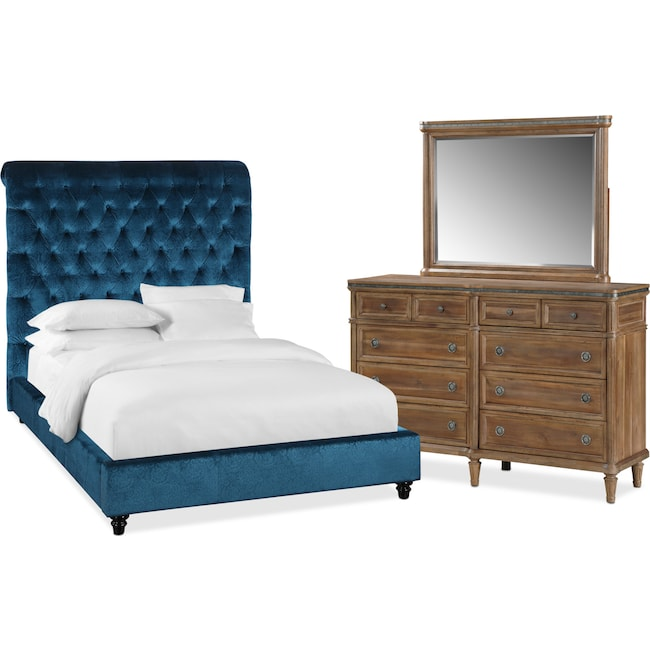 Bedroom Furniture - Diana 5-Piece Queen Bedroom Set - Teal and Natural