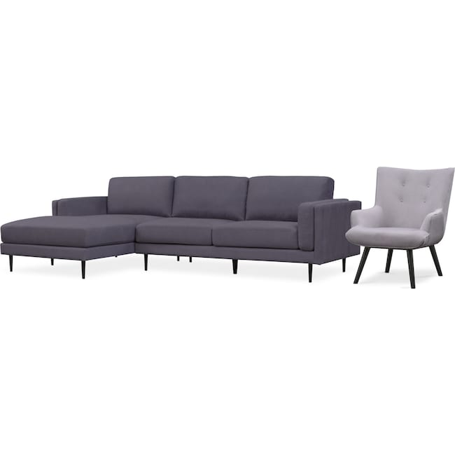 Living Room Furniture - West End 2-Piece Left-Facing Sectional and Accent Chair Set - Gray and Light Gray