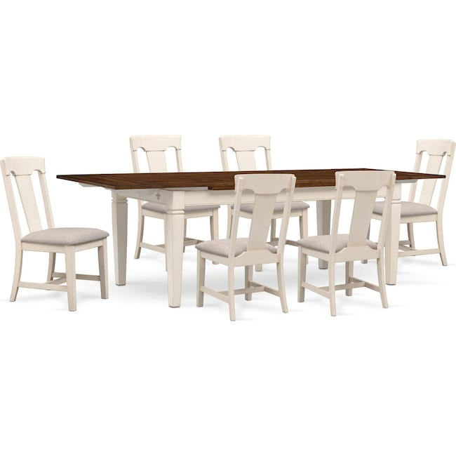The Adler Extendable Table From Iq Furniture: Adler Dining Table And 6 Side Chairs - White
