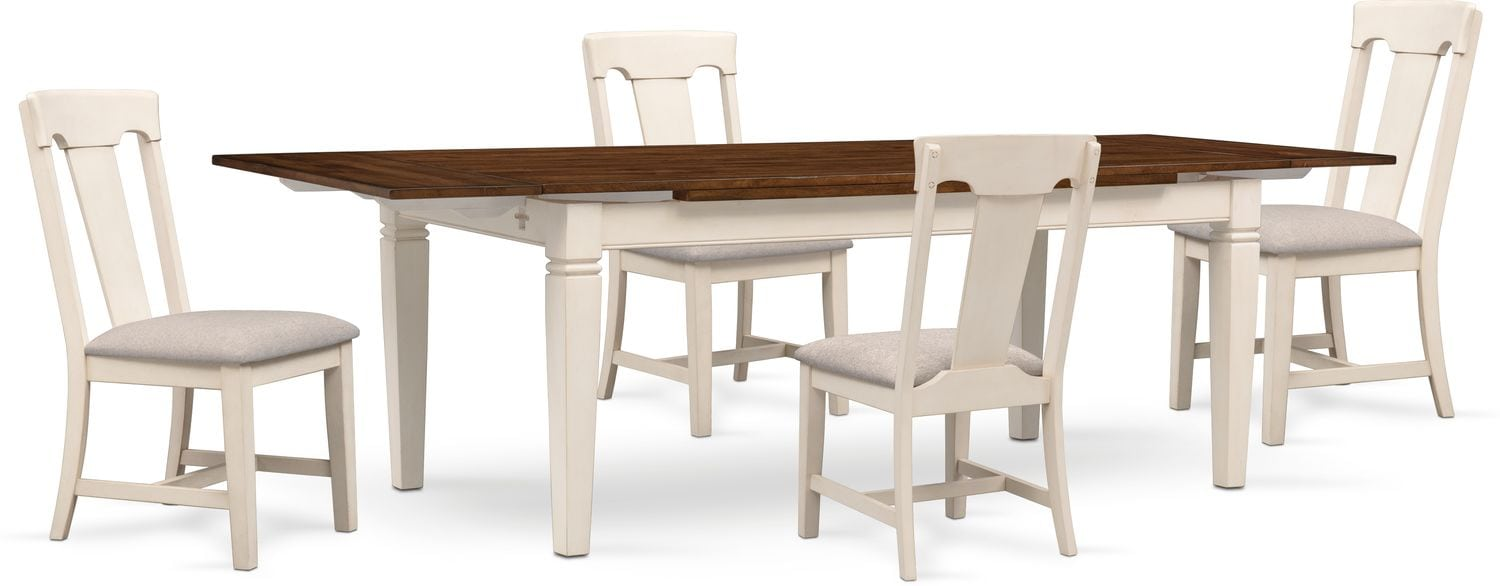 Dining room furniture adler dining table and 4 side chairs white