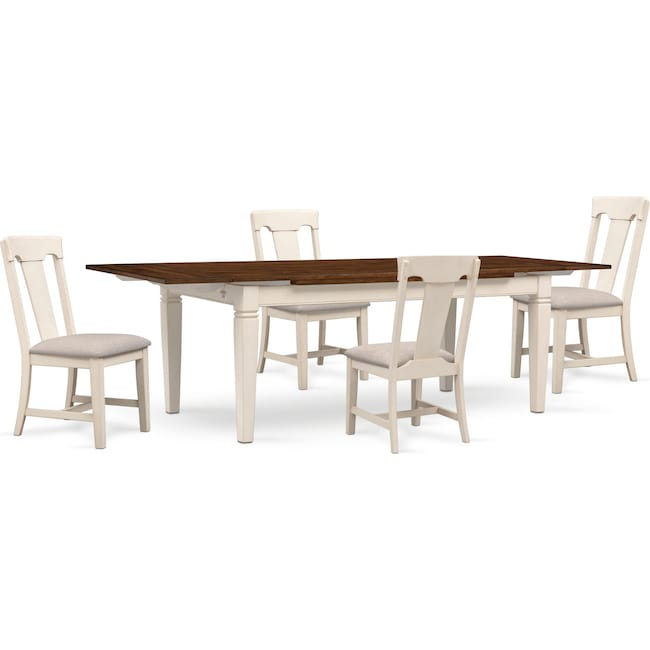 The Adler Extendable Table From Iq Furniture: Adler Dining Table And 4 Side Chairs - White