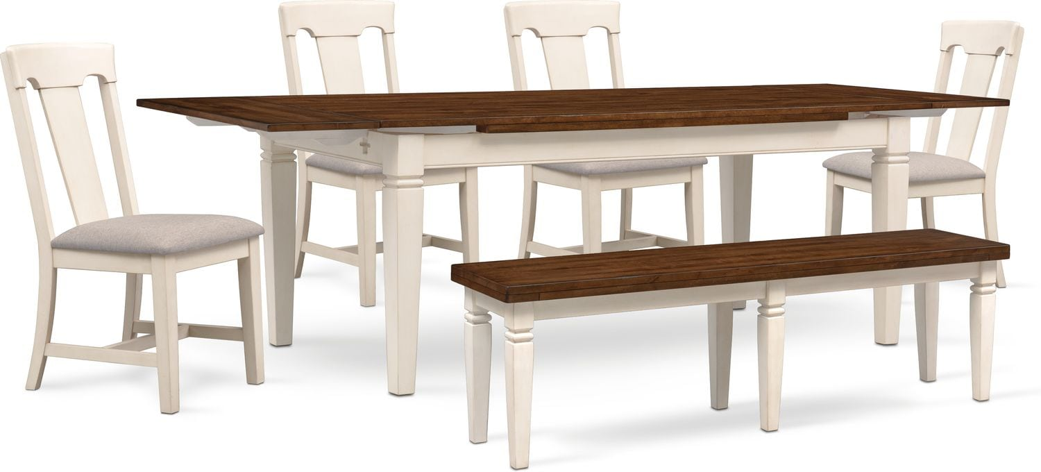 Dining Room Furniture   Adler Dining Table, 4 Side Chairs And Bench   White