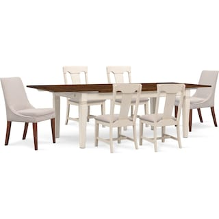 Adler Dining Table, 4 Side Chairs and 2 Upholstered Side Chairs - White