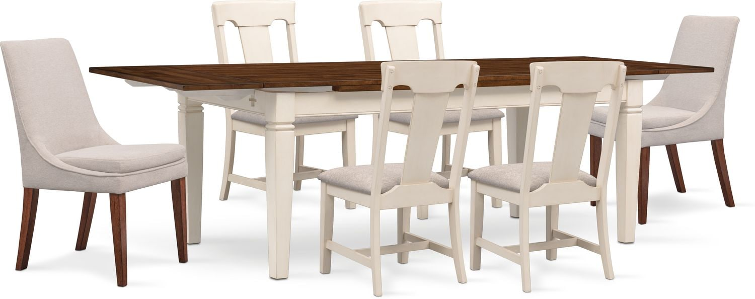 Adler Dining Table, 4 Side Chairs And 2 Upholstered Side Chairs   White