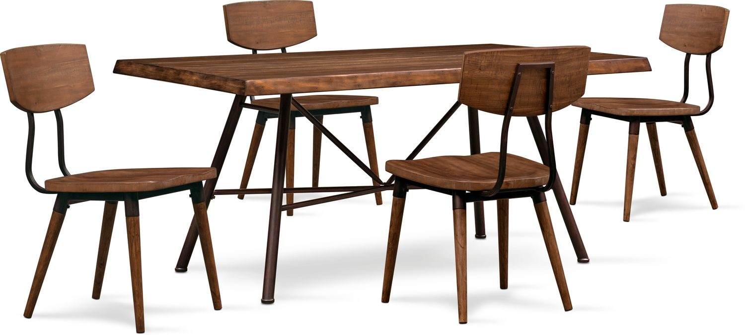 Dining Room Furniture - Bodhi Dining Table and 4 Side Chairs - Rustic Pine