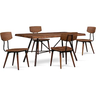Bodhi Dining Table and 4 Side Chairs - Rustic Pine