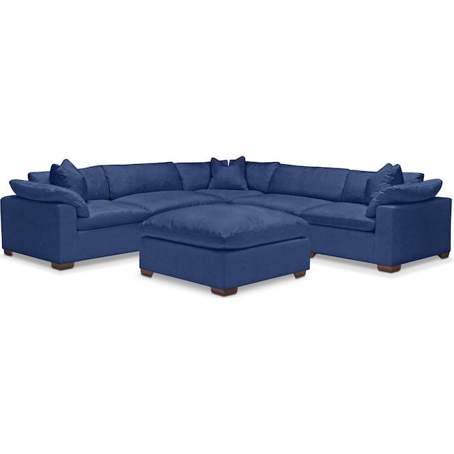 Living Room Furniture - Plush 6-Piece Sectional - Abington TW Indigo