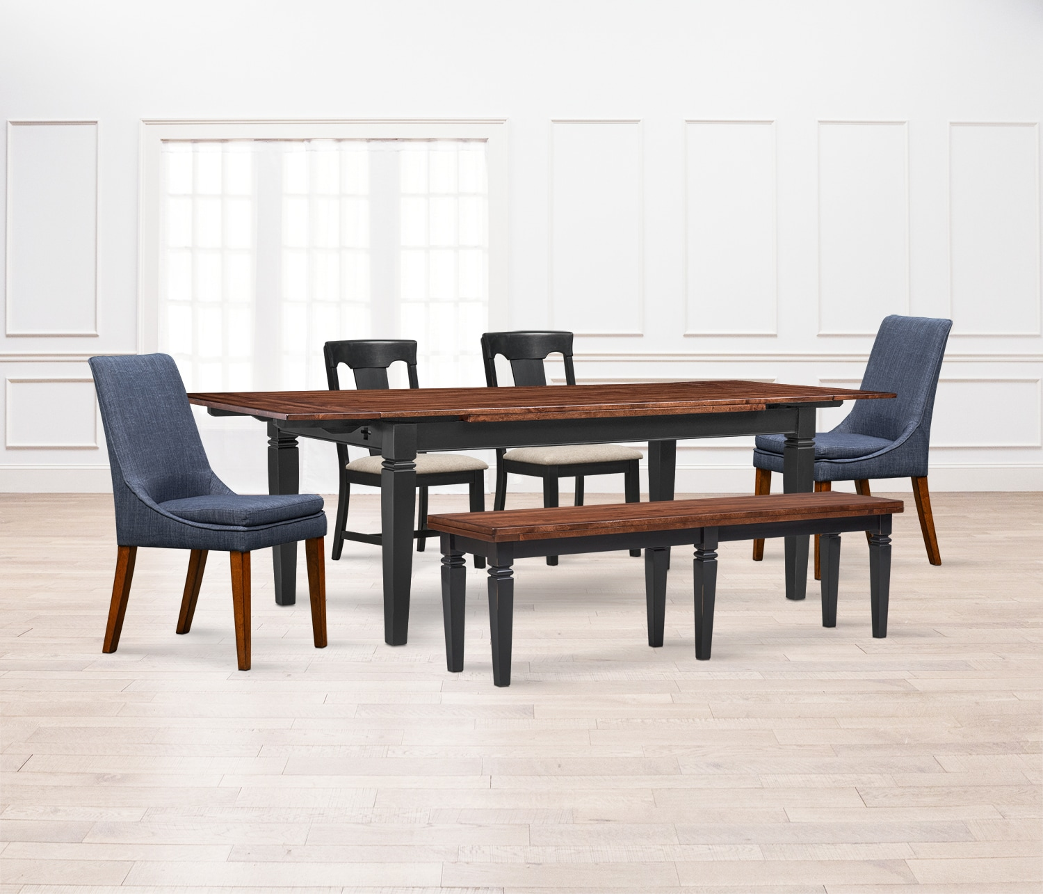 Adler Dining Table, 2 Side Chairs, 2 Upholstered Side Chairs And FREE Bench