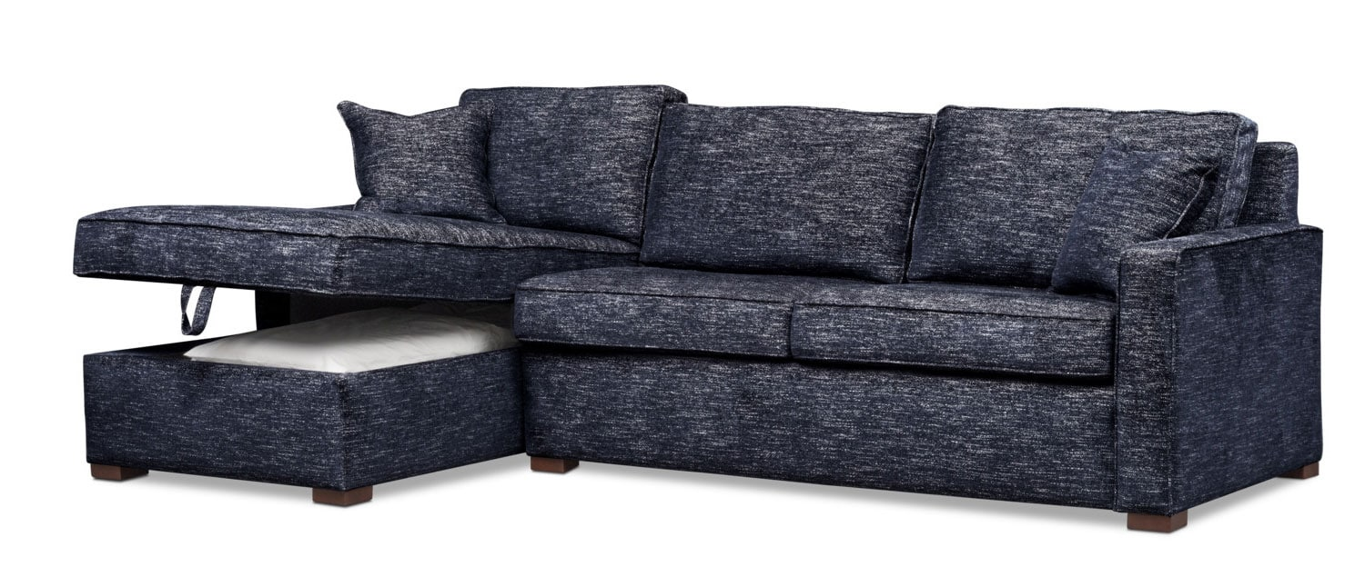 Tap To Change Mayson 2 Piece Full Memory Foam Sleeper Sectional With  Left Facing Chaise   Navy ...