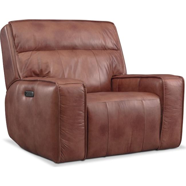 Living Room Furniture - Bradley Triple Power Recliner - Brown