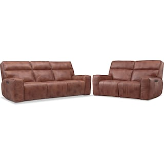 Bradley Triple Power Reclining Sofa and Reclining Loveseat Set
