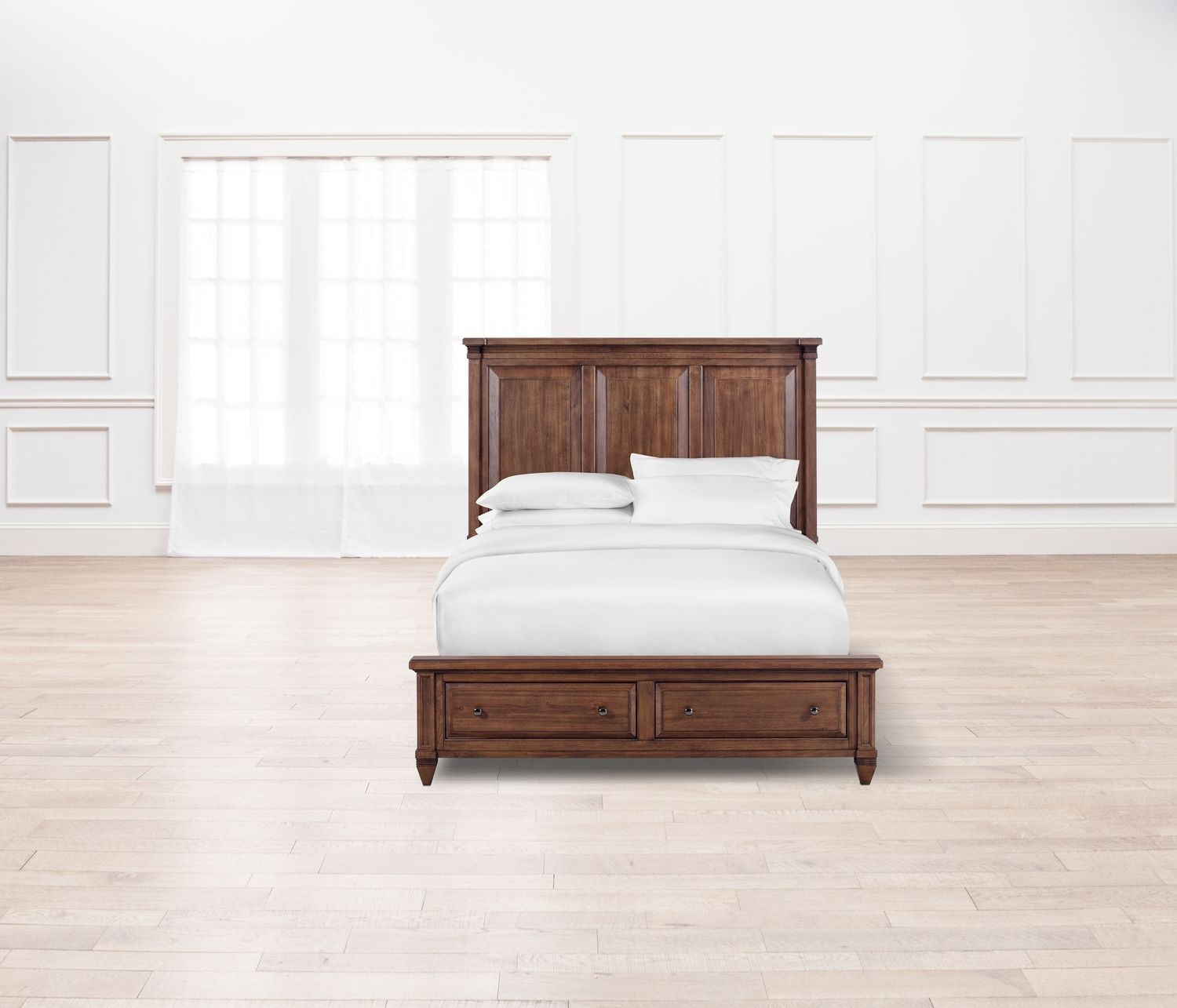 Bedroom Furniture   Rosalie King Bed With Storage   Chestnut