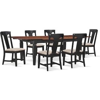 Adler Dining Table and 6 Side Chairs - Black