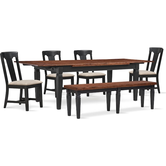 The Adler Extendable Table From Iq Furniture: Adler Dining Table, 4 Side Chairs And Bench