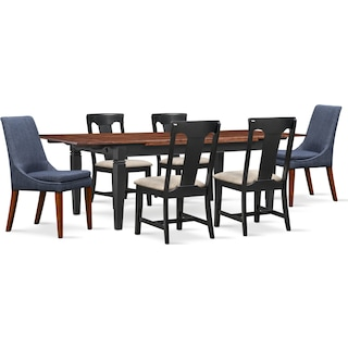 Adler Dining Table, 4 Side Chairs and 2 Upholstered Side Chairs - Black