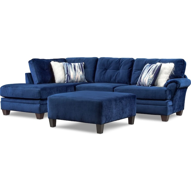 Living Room Furniture - Cordelle 2-Piece Sectional with Chaise and Cocktail Ottoman Set