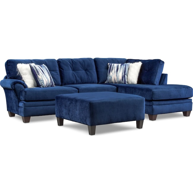 Living Room Furniture - Cordelle 2-Piece Sectional + FREE OTTOMAN