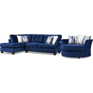 Cordelle 2-Piece Sectional with Chaise and Swivel Chair Set