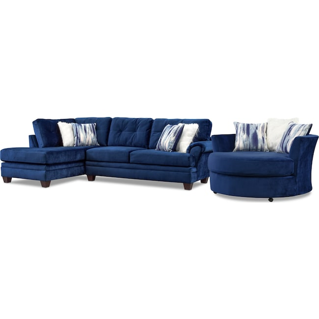 Living Room Furniture - Cordelle 2-Piece Sectional with Chaise and Swivel Chair Set