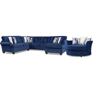 Cordelle 3-Piece Sectional and Swivel Chair Set - Blue