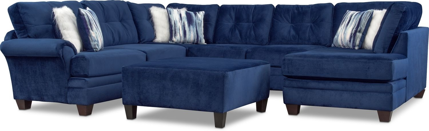 Living Room Furniture - Cordelle 3-Piece Sectional and Cocktail Ottoman Set - Blue
