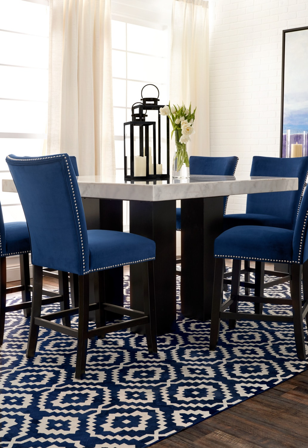Artemis Counter Height Dining Table And 4 Upholstered Stools Blue Value City