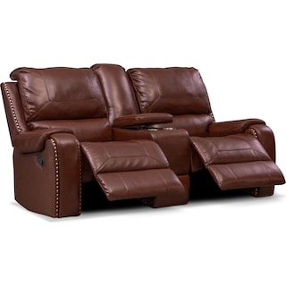 Austin Manual Reclining Loveseat - Brown