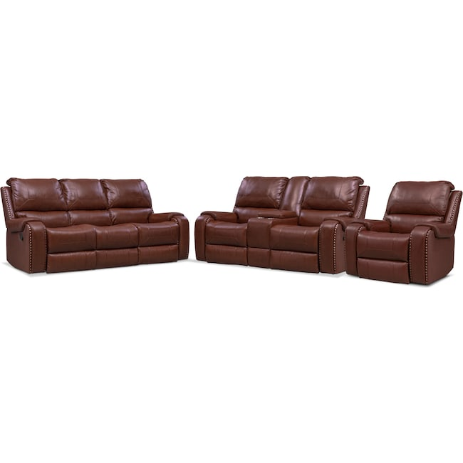 Living Room Furniture - Austin Manual Reclining Sofa, Reclining Loveseat and Recliner Set