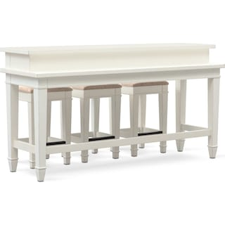 Waverly Sofa Table and 3 Stools - White