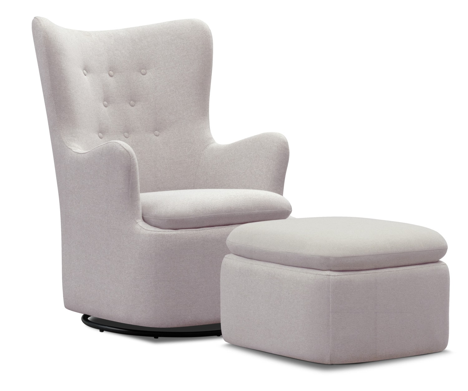 Addie Swivel Chair And Ottoman Set   Gray