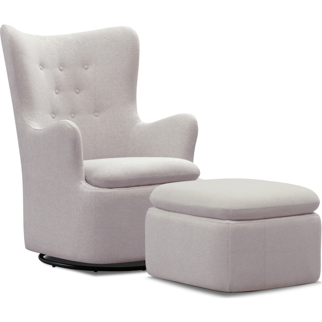 Living Room Furniture - Addie Swivel Chair and Ottoman Set - Gray